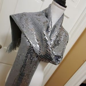 Silver sequence scarf one size